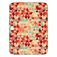 Modern Hipster Triangle Pattern Red Blue Beige Samsung Galaxy Tab 3 (10 1 ) P5200 Hardshell Case  by EDDArt