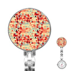 Modern Hipster Triangle Pattern Red Blue Beige Stainless Steel Nurses Watch by EDDArt