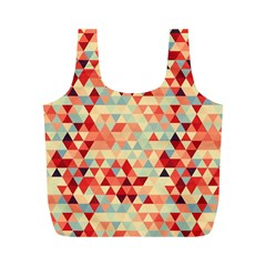Modern Hipster Triangle Pattern Red Blue Beige Full Print Recycle Bags (m)  by EDDArt