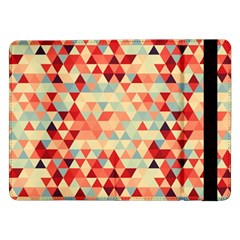 Modern Hipster Triangle Pattern Red Blue Beige Samsung Galaxy Tab Pro 12 2  Flip Case by EDDArt