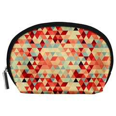 Modern Hipster Triangle Pattern Red Blue Beige Accessory Pouches (large)  by EDDArt
