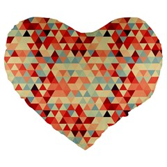 Modern Hipster Triangle Pattern Red Blue Beige Large 19  Premium Flano Heart Shape Cushions by EDDArt