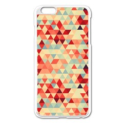 Modern Hipster Triangle Pattern Red Blue Beige Apple Iphone 6 Plus/6s Plus Enamel White Case by EDDArt