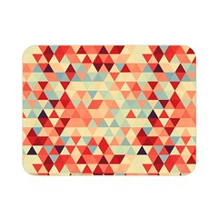 Modern Hipster Triangle Pattern Red Blue Beige Double Sided Flano Blanket (mini)  by EDDArt