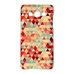 Modern Hipster Triangle Pattern Red Blue Beige Samsung Galaxy A5 Hardshell Case  by EDDArt