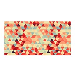 Modern Hipster Triangle Pattern Red Blue Beige Satin Wrap by EDDArt