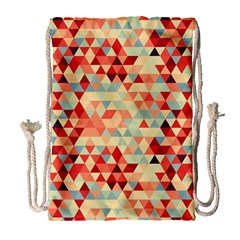 Modern Hipster Triangle Pattern Red Blue Beige Drawstring Bag (large) by EDDArt