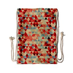 Modern Hipster Triangle Pattern Red Blue Beige Drawstring Bag (small) by EDDArt