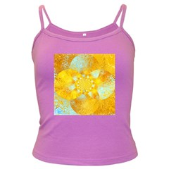 Gold Blue Abstract Blossom Dark Spaghetti Tank by designworld65