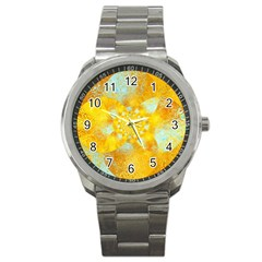 Gold Blue Abstract Blossom Sport Metal Watch
