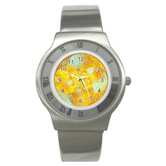 Gold Blue Abstract Blossom Stainless Steel Watch by designworld65