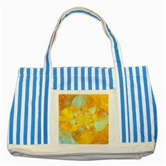 Gold Blue Abstract Blossom Striped Blue Tote Bag by designworld65