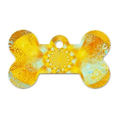 Gold Blue Abstract Blossom Dog Tag Bone (one Side)