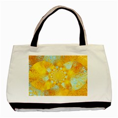 Gold Blue Abstract Blossom Basic Tote Bag (two Sides) by designworld65