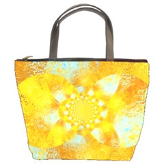 Gold Blue Abstract Blossom Bucket Bags by designworld65