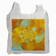 Gold Blue Abstract Blossom Recycle Bag (one Side) by designworld65