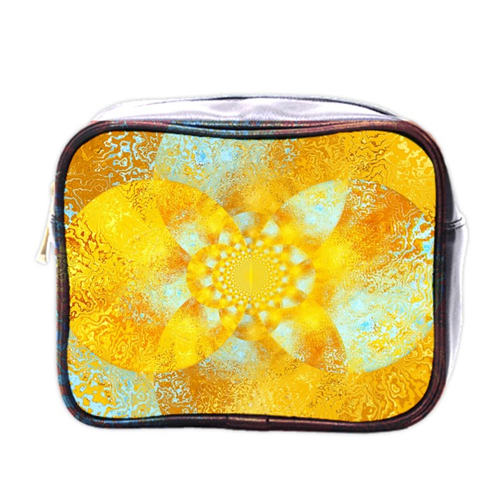 Gold Blue Abstract Blossom Mini Toiletries Bags
