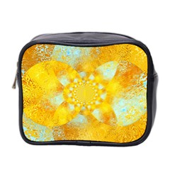 Gold Blue Abstract Blossom Mini Toiletries Bag 2 Side by designworld65