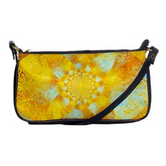 Gold Blue Abstract Blossom Shoulder Clutch Bags by designworld65