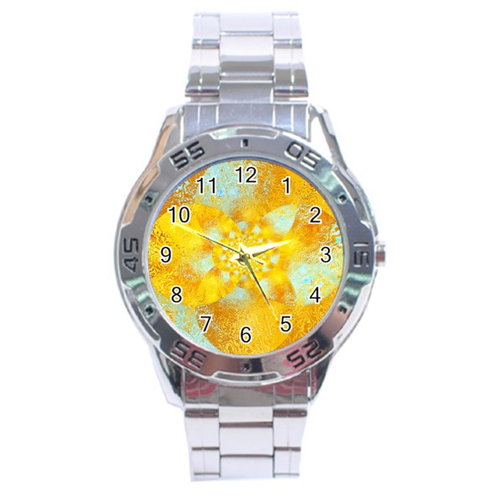 Gold Blue Abstract Blossom Stainless Steel Analogue Watch