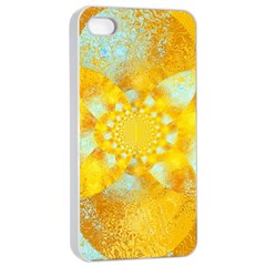 Gold Blue Abstract Blossom Apple Iphone 4/4s Seamless Case (white) by designworld65
