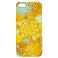 Gold Blue Abstract Blossom Apple Iphone 5 Hardshell Case by designworld65