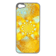 Gold Blue Abstract Blossom Apple Iphone 5 Case (silver) by designworld65