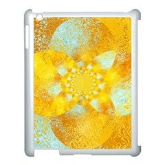 Gold Blue Abstract Blossom Apple Ipad 3/4 Case (white) by designworld65