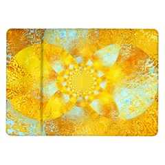 Gold Blue Abstract Blossom Samsung Galaxy Tab 10 1  P7500 Flip Case by designworld65