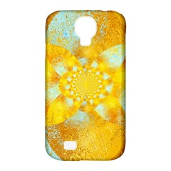 Gold Blue Abstract Blossom Samsung Galaxy S4 Classic Hardshell Case (pc+silicone) by designworld65