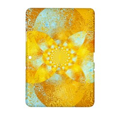 Gold Blue Abstract Blossom Samsung Galaxy Tab 2 (10 1 ) P5100 Hardshell Case  by designworld65
