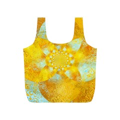 Gold Blue Abstract Blossom Full Print Recycle Bags (s)  by designworld65