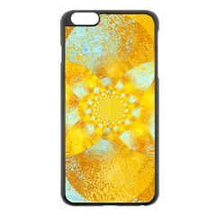Gold Blue Abstract Blossom Apple Iphone 6 Plus/6s Plus Black Enamel Case by designworld65