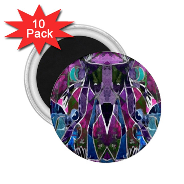 Sly Dog Modern Grunge Style Blue Pink Violet 2.25  Magnets (10 pack)