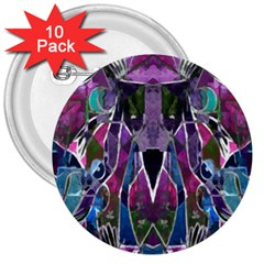 Sly Dog Modern Grunge Style Blue Pink Violet 3  Buttons (10 Pack)  by EDDArt