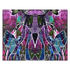 Sly Dog Modern Grunge Style Blue Pink Violet Rectangular Jigsaw Puzzl by EDDArt