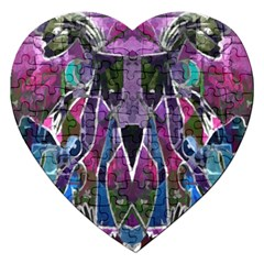 Sly Dog Modern Grunge Style Blue Pink Violet Jigsaw Puzzle (heart) by EDDArt