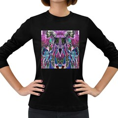 Sly Dog Modern Grunge Style Blue Pink Violet Women s Long Sleeve Dark T Shirts by EDDArt