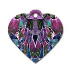 Sly Dog Modern Grunge Style Blue Pink Violet Dog Tag Heart (One Side) Front
