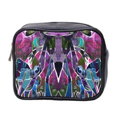 Sly Dog Modern Grunge Style Blue Pink Violet Mini Toiletries Bag 2 Side