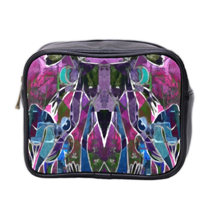Sly Dog Modern Grunge Style Blue Pink Violet Mini Toiletries Bag 2-Side