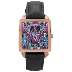 Sly Dog Modern Grunge Style Blue Pink Violet Rose Gold Leather Watch  by EDDArt