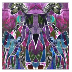 Sly Dog Modern Grunge Style Blue Pink Violet Large Satin Scarf (square) by EDDArt
