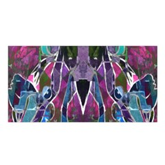 Sly Dog Modern Grunge Style Blue Pink Violet Satin Shawl by EDDArt