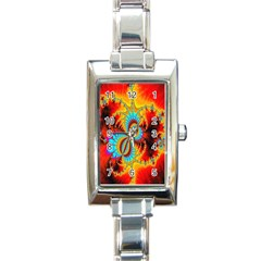 Crazy Mandelbrot Fractal Red Yellow Turquoise Rectangle Italian Charm Watch by EDDArt