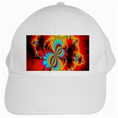 Crazy Mandelbrot Fractal Red Yellow Turquoise White Cap