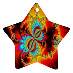 Crazy Mandelbrot Fractal Red Yellow Turquoise Ornament (Star)