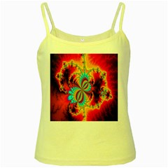 Crazy Mandelbrot Fractal Red Yellow Turquoise Yellow Spaghetti Tank