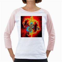Crazy Mandelbrot Fractal Red Yellow Turquoise Girly Raglans by EDDArt