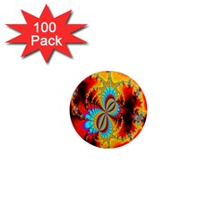 Crazy Mandelbrot Fractal Red Yellow Turquoise 1  Mini Magnets (100 pack)